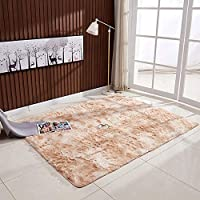 Mainstayae Ultra Soft Tie-Dye Style Gradient Color Carpet Floor Bedroom Mat Rectangle Shape Fluffy Rug for Living Room Bedroom Balcony Hallway Mat