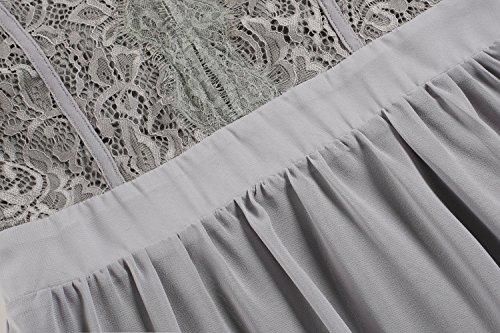 Zeagoo-[Robe Femme En Dentelle]Sans Maches Robe Princesse Ciselé Pour Soirée Mariage Robe de Cocktail Au Genou Avec Ceinture Gris