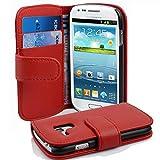 Cadorabo Hülle kompatibel mit Samsung Galaxy S3 MINI Hülle in INFERNO ROT Handyhülle mit Kartenfach aus struktriertem Kunstleder Case Cover Schutzhülle Etui Tasche Book