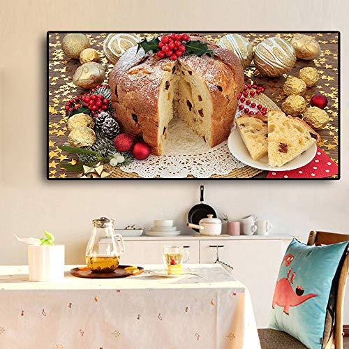 Cibo Pane Tela Arte Pittura scandinava Poster e Ristorante murale in Cucina nordica Moderna Decorazione Domestica Frameless 30x60cm