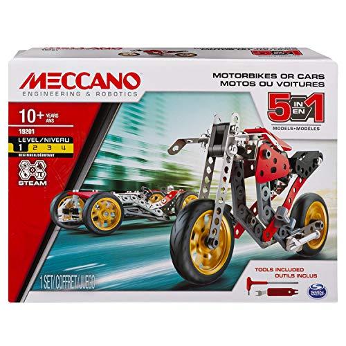Meccano - 6053371 - Jeu de Construction - Voiture et Moto 5 modèles