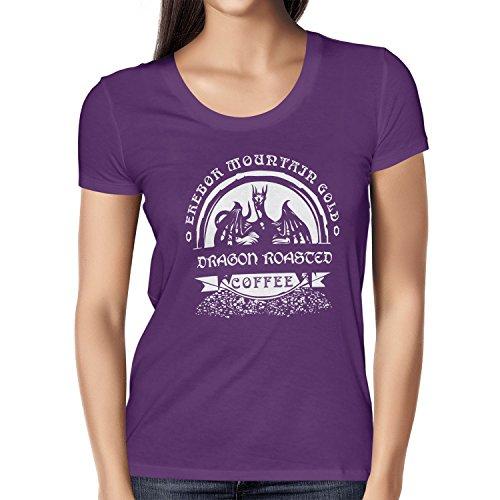 NERDO - Erebor Mountain Gold Coffee - Damen T-Shirt, Größe M, violett (Minecraft Figur Kostüme)