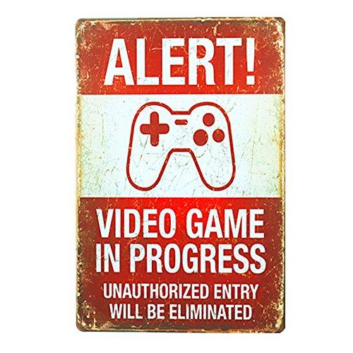 dingleiever DL-Funny Vintage Blechschild Alert. Video Spiele in Progress 20,3x 30,5cm Man Cave. (Vintage-kaffee Zeichen)