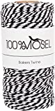 100% Fil de Mosel Noir Blanc 2 mm d'épaisseur 100 m de Fil de Bricolage en Coton Twine Sangle de Cadeau de 0,10 € / m