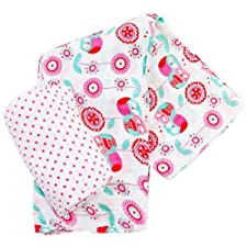 Plum Collections Muster Baumwoll-Musselin, Swaddle Packungen Love Eulen Design (2 Stück, X-Large)