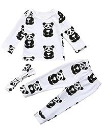 ❀ Conjuntos Bebe Otoño Invierno, ✧ Zolimx Newborn Bebé Niño Niña Impresión de Panda Blusa + Pantalones Largos + Diadema Recién Trajes Ropa Conjuntos