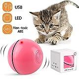 Katzenspielzeug Interaktiv Automatisch Sich Drehender Ball, USB Wiederaufladbares LED Licht Haustier Unterhaltungskugeln für den Innenbereich, Übungsbälle Pet Chaser Spielzeug für Kätzchen (Rosa)