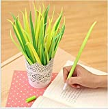 VStoy Poo-leaf Forest Green Grass-blade Ballpoint Silicon Grass Pen Black Ink Pack of 12