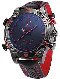 SHARK SH261–Reloj de pulsera de hombre, correa de piel color negro