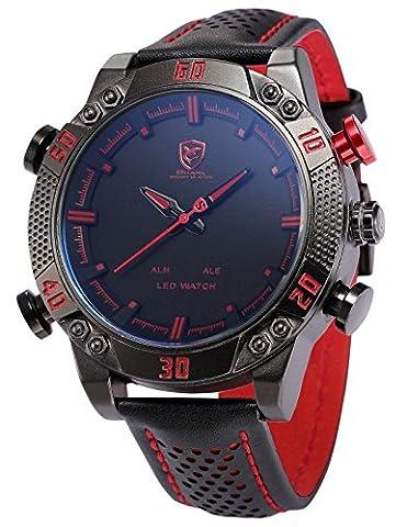 Shark SH261 Montre Homme LED/Date/ Alarm Digital Analogique Bracelet en Cuir Rouge