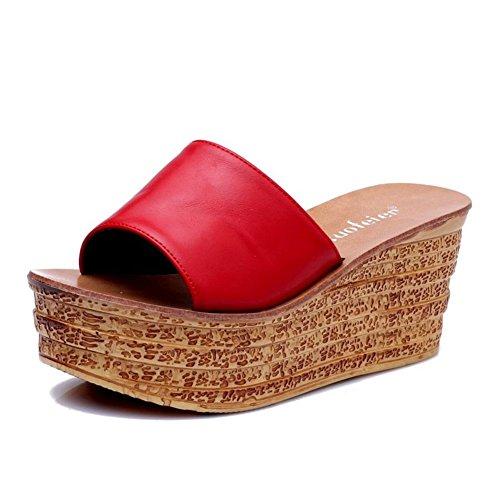 Indossare le ciabatte fredde di moda/Pendenza con sandali sottili di fondo spessa A