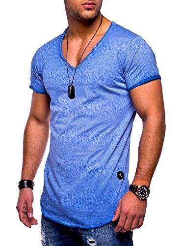MT Styles Herren Oversize T-Shirt V-Neck Sweatshirt MT-7102 [Blau, XXL]