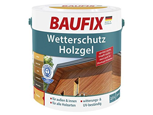 Baufix Wetterschutz Holzgel 2,5L für innen & außen Holzschutz (Kiefer)