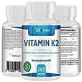Vitamin K2 200µg - 365 Tabletten - Menaquinon MK7 - vegane Tabletten - 200mcg pro Tablette - Leichte Einnahme kleine Tabletten 6mm - 365 Tage Support