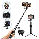 Palo Selfie Bluetoooth, M.Way Monopod Extensible 25cm- 92cm Remoto Portátil Antideslizante Trípode Universal para iPhone 8 7 7plus 6s 6 5s iPad, Android Samsung Galaxy Note 8/S8, Gopro, Cámara Digital