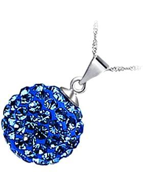 GWG® Sterling Silber Veredelte Anhänger-Halskette für Frauen, Verziert mit Farbiger Kristall-Kugel