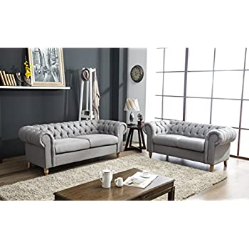 a5c35d27d28e Canterbury Chesterfield Sofa 2 3 Seater Suite in Silver Grey Crushed Velvet  or Grey Linen Fabric With Real Wood Queen Anne Style Legs Feet (Grey Linen,  ...