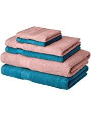 Solimo 100% Cotton 6 Piece Towel Set, 500 GSM (Turqouise Blue and Baby Pink)