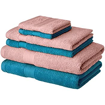Amazon Brand - Solimo 100% Cotton 6 Piece Towel Set, 500 GSM (Turquoise Blue and Baby Pink)