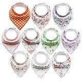 ARKFU 10er Baby Dreieckstuch Lätzchen Spucktuch Halstücher mit Verstellbaren Druckknöpfen Multifunctional, Super Absorbent & Soft Baumwoll, Mädchen