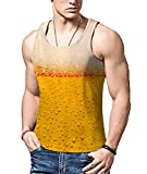 Rave on Friday Canotta da Uomo 3D Stampa Cool Birra Grafica Vest Uomo Casual Sport Top Tank Man Estate T Shirt Senza Maniche Ragazzo XL