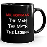 Mr. Hoffman Coffee Mug Tazas Negras Personalizadas con Nombres - The Man the Myth the Legend - Best Gifts Regalos for Men - 11 oz Black mug - Red