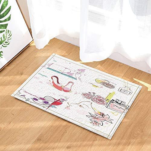 oration,Mode Make-Up Thema Parfüm Und High Heel Blume Bad Teppich,Indoor Anti-Rutsch-Fußmatte,KinBad Teppich,40X60 cm,Bad-Accessoires ()