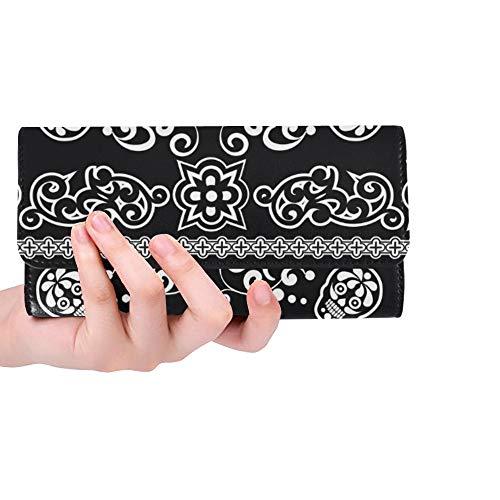 Einzigartige Benutzerdefinierte Bandana Zucker Schädel Frauen Trifold Brieftasche Lange Geldbörse Kreditkarteninhaber Fall Handtasche