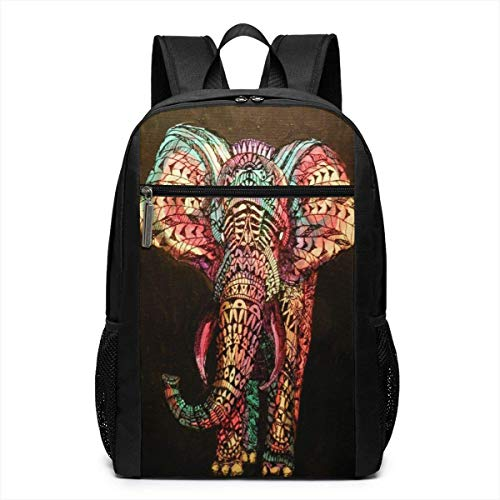 e3ef1972a365 TRFashion Zaino Mandala Indian Elephant 17 Inch College Laptop Notebook Bag  Backpack Schoolbag Book Bag For Men Women Black