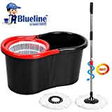 Blueline Cleaning Experts Plastic Magic Spin Mop Set,4 Pieces, Black