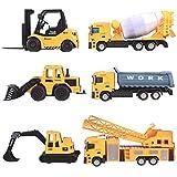 deAO Camiones de Construcción Conjunto a Escala 1:64 Vehículos de Obras Multifuncionales Diseño y Movimientos Realistas (Pack