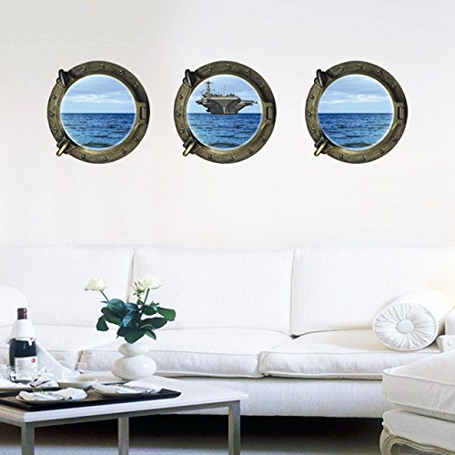 oblo-set-di-3-carrier-ocean-3d-finestra-parziale-glassato-frosting-murales-muro-decalcomanie-adesivi