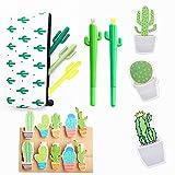 Jevenis 19pz penna a sfera cactus cactus nero inchiostro scrittura penne con cactus matita della clip cactus cactus notes sticker per ufficio scuola casa supply Gift