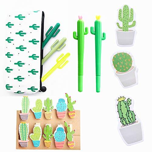 JeVenis 19 Stück Kaktus-Kugelschreiber, schwarze Tinte, Schreibstifte mit Kaktus-Bleistiftbeutel, Kaktus-Clip, Kaktus-Notizen, Aufkleber für Büro, Schule, Zuhause