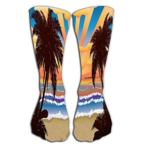 SDFGSE Print Women's Knee High Socks Athletic Over The Calf Tube Sunset Beach Palms Tropical Palm Trees Sunrise time Geometric - Sunrise Tree