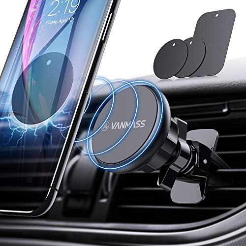 VANMASS Handyhalter fürs Auto Magnet Kfz Handy Halterung Lüftung Superstark Magnetkraft mit 6 Magnete und 3 Metallplatte Magnetische Auto Handyhalterung 360° Drehbar für iPhone iPad Samsung Huawei usw