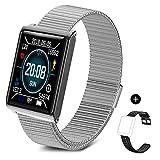 TECKEPIC N98 Montre Connectée Smartwatch Bracelet Connecté Trackers d'activité Podomètre Distance Calories Cardiofréquencemètre pour iPhone Samsung Android 4.4 iOS 7.1 Smartphone (Argent&Noir)