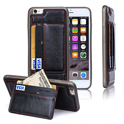 NEW Luxe en cuir véritable hommes portefeuille avec support Coque en TPU avec compartiments pour cartes bancaires pour Apple iPhone 5S/5C/6S/6plus/6splus/6 - Black + Red Line