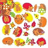 Pegatinas de espuma en forma de erizo para decorar y adornar tarjetas de otoño, modelos, diseños y otras manualidades (pack de 120).