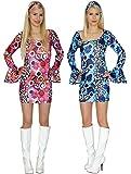 Hippie Kostüm Kleid Damenkostüm Gr. 36 38 40 42 60er 70er Jahre Faschingskostüm, Gr. L, pink