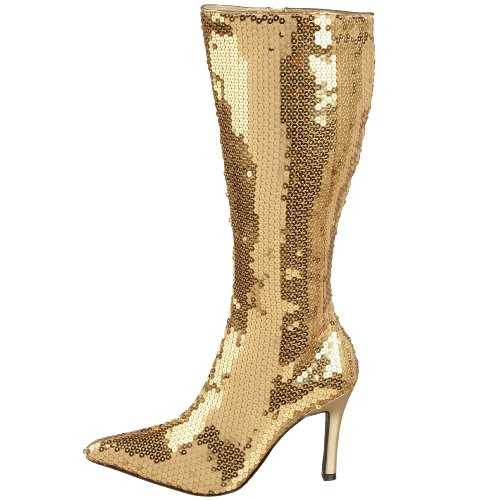 80er Jahre Disco Pailletten Stiefel Gold multicoloured