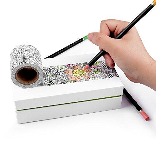 Malbuch Washi-Tape, 3er Set: Coloring Washi-Tape, Ausmalen und Entspannen, DIY Anti-Stress Washi-Tape zum Ausmalen, 5 cm x 5 m - 3er Set (Mal-Washi)