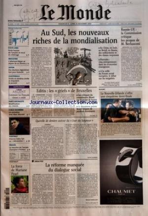MONDE (LE) [No 18285] du 09/11/2003 - ETATS-UNIS - FORTE HAUSSE DE L'EMPLOI ET RECUL DU CHOMAGE INDUSTRIE - L'ALLEMAND BAYER SE SEPARE DE SA CHIMIE JAPON - DES ELECTIONS LEGISLATIVES TEST POUR KOIZUMI GUATEMALA - DROITE ET EXTREME DROITE SE DISPUTENT LE POUVOIR SUPPLEMENT - LE MONDE ARGENT - COMMENT LES FRANCAIS VIVENT A CREDIT PARTI SOCIALISTE - MODIFICATION DES STATUTS FORCE OUVRIERE - UN ENTRETIEN AVEC MARC BLONDEL PORTRAIT - ETIENNE DAHO FAIT SA 'REEVOLUTION+« PROCES - L par Collectif