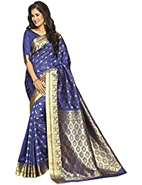 Craftsvilla Women's Bangalore Silk Zari Work Blue Saree With Unstitched Blouse Piece