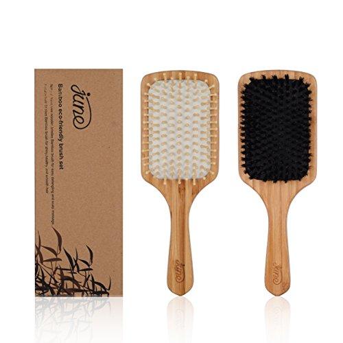 Paddle Brush Silber (Bambus Wildschweinborsten Haarbürste Satz - 1 100% Natürlich Kein Nylon Wildschweinborsten Haarbürste und 1 Detangler Paddle Bürste mit Holz Holzstifte für Kurze, Mittellange und Lange Haare)