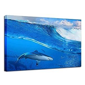 BESTYAN Leinwand Wand Kunst Seabed Shark Poster für Hauptdekor mit gerahmter fertig zum Aufhängen,20x28inch x1 Panel