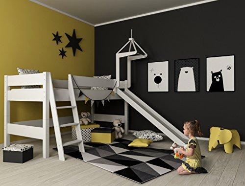 XXL Discount Kinderbett 90 x 200 Kinderhochbett Spielbett Hochbett Luk mit Rutsche und Turm inkl. Rollrost Buche massiv weiß lackiert 90 x 200 cm