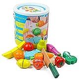 HERSITY 13 Pezzi Cibo Giocattolo da Taglio Frutta Verdura con Velcro Accessori Cucina in Legno Gioco di Ruolo Regalo per Bambini 2 Anni+