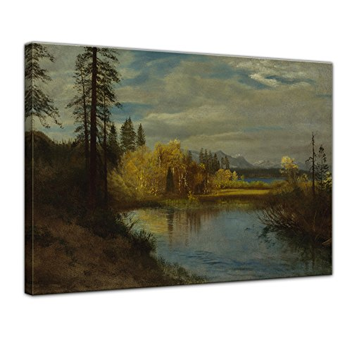 Leinwandbild Albert Bierstadt Outlet at Lake Tahoe - 120x90cm quer - Alte Meister Keilrahmenbild Bild auf Leinwand Gemälde