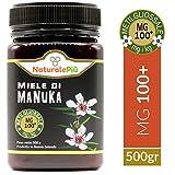 Miel de Manuka 100+ MGO 500g   Producida en Nueva Zelanda, activa y cruda, 100% pura y natural   Metilglioxial probado   NATURALEPIÙ